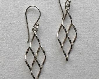 Vintage Sterling Silver Filigree Lattice Diamond Dangle  Earrings