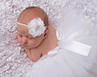 White Newborn Tutu, Tutu and headband, newborn photography prop, baby tutu, newborn tutu