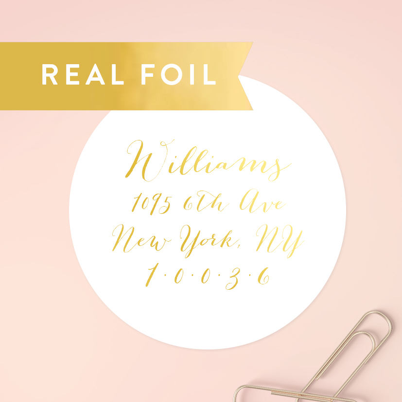 Round Wedding Invitation Label 1: Gold Foil Round Address Labels Circle Address Labels Wedding