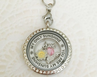 Grand Daughter you are my sunshine memory locket stainless steel with chain