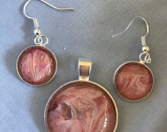 Acrylic painting pendant and earrings
