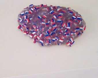 LIMITED  EDITION Super crunchy red,white and blue flag slime also a great gift idea  6oz