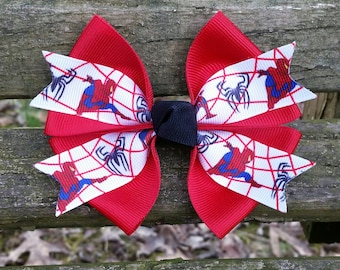 Spider Man Superhero Red Hair Bow (4 inch)