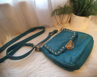 Vintage 90s LD Turquoise Cross body Bag ~ Gold studs
