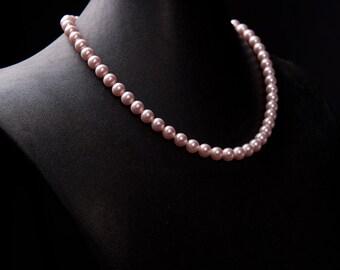 Vintage Inspired Swarovski Pearl Necklace in Rosaline pink