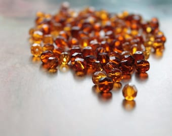 150 vintage beads faceted amber color, 6, 7 and 8 mm in diameter, 1457