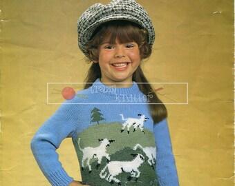 "Child's Countryside Motif Sweater DK 24-30"" Sirdar 4354 Knitting Pattern PDF instant download"
