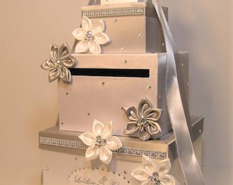 Wedding Card Box Silver and White Gift Card Box Money Box Holder--Customize your color