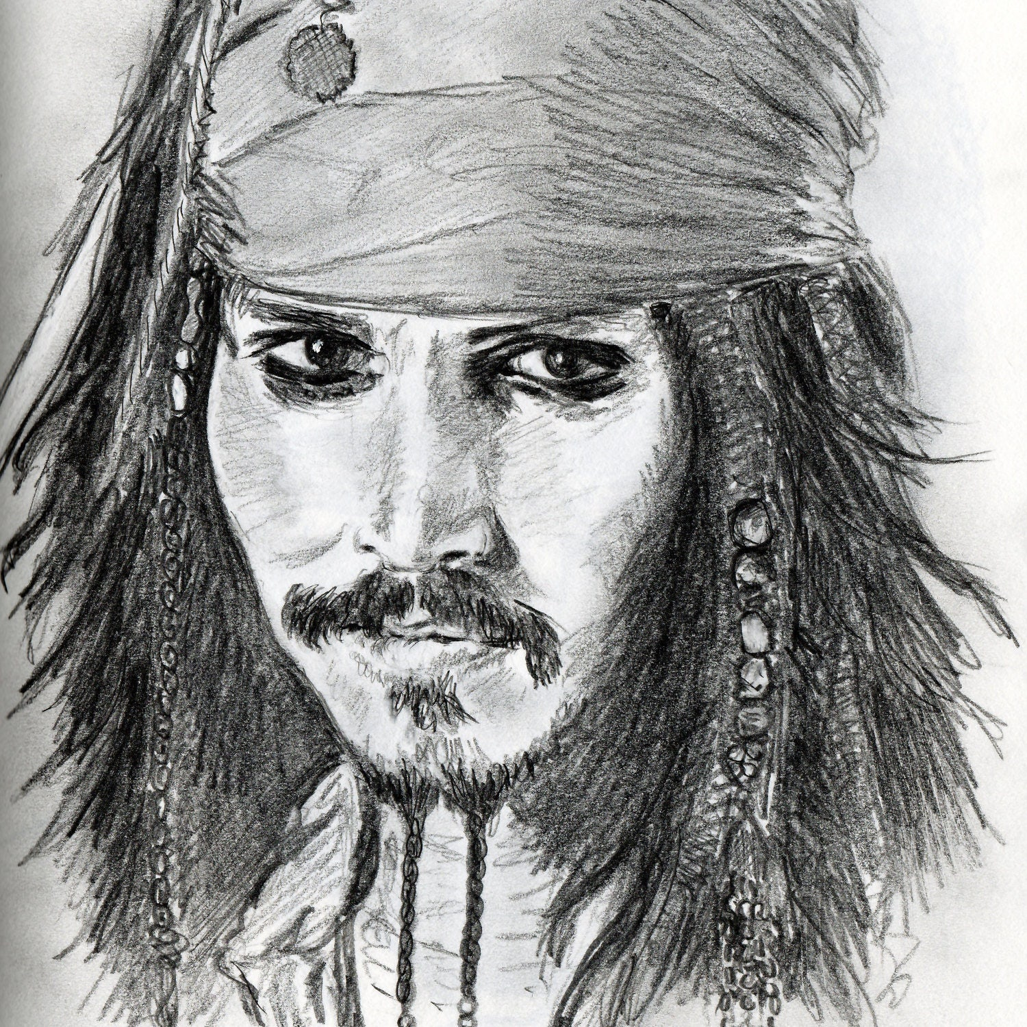grafite di ritratto di alias johnny depp jack sparrow in. Black Bedroom Furniture Sets. Home Design Ideas