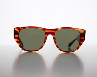 Large Flat Top Round Vintage Sunglasses / Wide Temples / Retro - Chaz