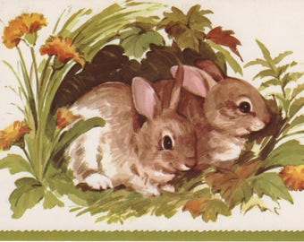 Vintage Anniversary Card with Bunnies with envelope