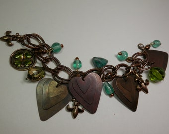 Antiqued Dangle Heart Charms Bracelet Copper Tone Patina Double Link Chain Fleur-de-lis Teal Four Leaf Clover Bead Gypsy Bohemian Style Gift