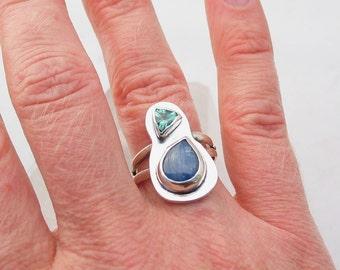 Kyanite Ring Apatite Ring Sterling Silver Ring Artisan Jewelry Handmade