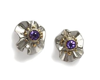 Silver, Gold & Gemstone earrings. Modern designer jewellery. Amethyst, Peridot, Garnet. Fine jewelry. Unique gift for her. Contemporary, Art
