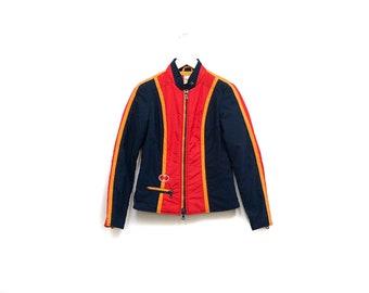 Vintage 70s Primary Color Ski Jacket / Navy Orange Yellow Surf Ski Snow Jacket / Austria Three Tone Winter Jacket / Color Block Light Jacket