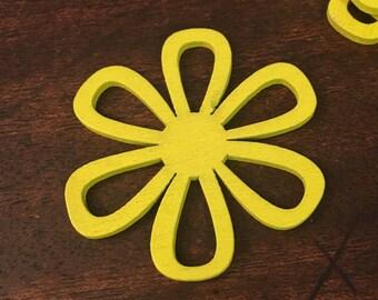 6 Acrylic Yellow Flower Pendants