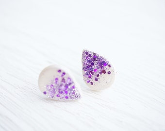 White and Purple Glitter Teardrop Stud Earrings