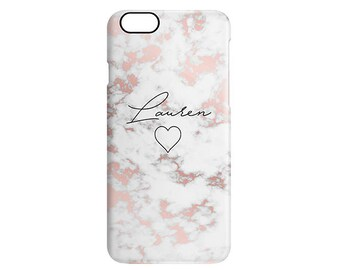 Rose Gold Marble Heart Name Personalised Calligraphy Custom Name Phone Case Apple Samsung