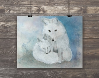 Arctic White Fox Mama and Baby Kit Watercolor Fine Art Giclee Archival Print from an Original Painting by artist Joy Neasley