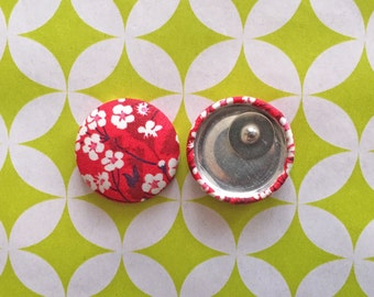 Fabric Earrings / Red Cherry Blossom / Wholesale Jewelry / Handmade in USA / Covered Button Earrings / Hypoallergenic Earrings / Bulk
