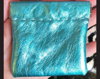 Metalic aqua leather coin pouch