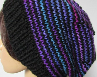 Black with Multi-purple stripped slouchy Beanie