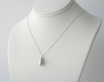 Grey Pearl Necklace, Gray Pearl Teardrop Necklace, Silver and Pearl Necklace, Bridesmaid Gift, Wedding Jewelry, Simple Pearl Necklace