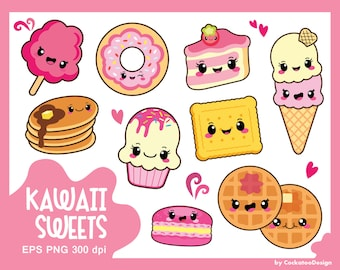 30% OFF, Kawaii clipart, kawaii sweets clipart, kawaii food clipart, cake clipart, donut clipart, macaron clipart, cookie,Commercial use