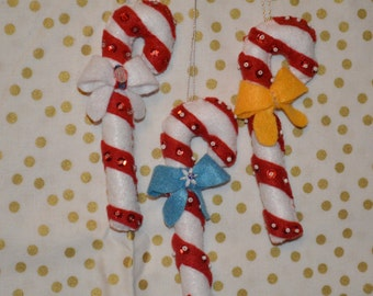 handcrafted candy cane ornament set  **SALE ** was 10.00