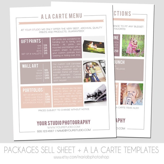 High Quality INSTANT DOWNLOAD, Packages Sell Sheet + A La Carte Pricing Template,  Photography Marketing Template, 8.5 X 11 Size, Newborn, Seniors, Family