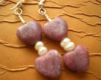 The Heart of the Matter - Rhodonite Heart Earrings