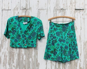 Two piece short sleeve crop jacket and shorts set, teal with purple and green floral pattern, made in usa by Rampage, medium, size 9, 1980s