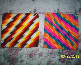 Crocheted double thickness pot holders