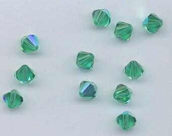 4mm Lt Emerald AB Bicone 5301 5328 Bead, Swarovski crystal, Crystal Passions®, 4mm Light Emerald AB Bicone 5301 5328