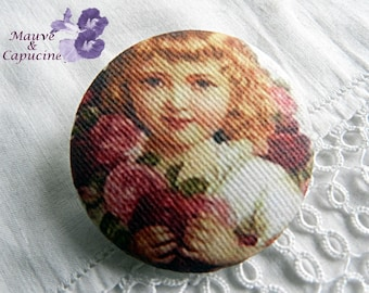 Retro girl button retro image button, 40 mm / 1.57 in diameter