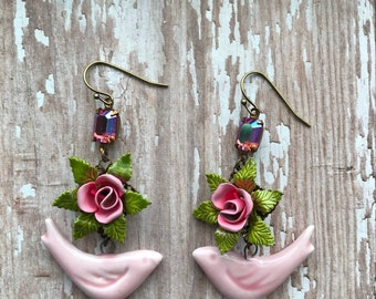 Vintage repurposed jewelry, earrings, pink roses, enamel, OOAK, birds, pretty, redesigned, floral upcycled, assemblage, vintagefrivolity
