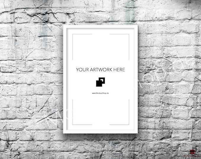 8x12 16x26 Vertical Digital WHITE FRAME MOCKUP, Styled Photography Poster Mockup, old White Brick Background, Framed Art, Instant Download