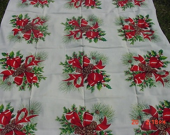 Vintage Christmas Pine Cones - Red Bows & Holly Table Cloth  18 - 940