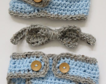 LITTLE MISTER Newsboy crochet hat, bowtie, d.cover, bringing home baby, shower gift, photo props, Preemie, Newborn up to 12 months available