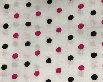 "Pink and Black Polka Dot Fabric - 33"" Cut"