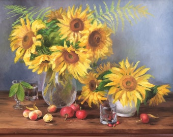 Painting with oil paint on canvas,  Sunflowers.