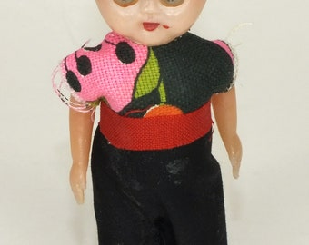 """Vintage Celluloid Boy Doll Blinking Eyes Red Beret Hat 4.5"""" Tall Little Man"""