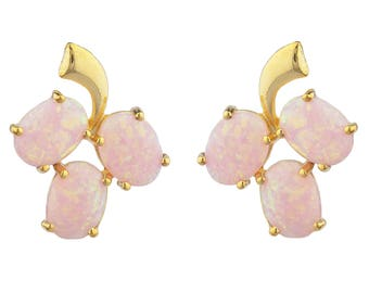 14Kt Yellow Gold Plated Pink Opal Oval Shape Design Stud Earrings