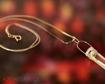 Clear Quartz Crystal Point Sterling Silver Necklace Handcrafted Jewelry Minimalist New Age Reiki Zen Lovely Vintage Pendant