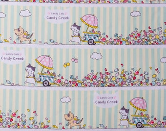 Japanese cat fabric in oxford cotton by Kokka - 1/2 YD