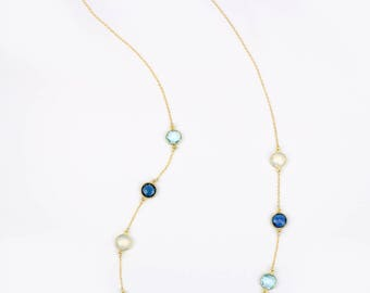 Kyanite Blue Topaz Opalite necklace, Blue long necklace, station necklace, Blue necklace, statement necklace, layering necklace multi stone
