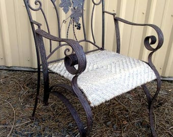 woven metal furniture. 2 Pieces Antique Wrought Iron Chairs With Original Woven Reed Seats Price Is For Pair Metal Furniture N