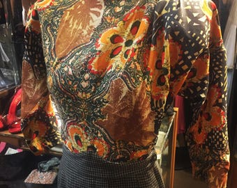 Untamed cold rayon blouse of the late 1940s...volup sizing!