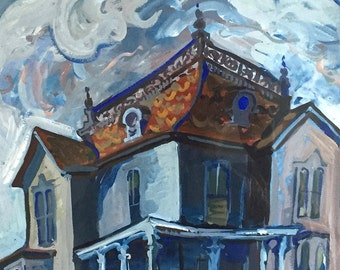 Original Painting Victorian House Gouache on Paper Spooky House Goth Decor Vintage Framed Signed Mulliken