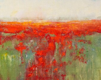 Red Poppies Landscape oil painting impressionist landscape modern art original painting by Don Bishop